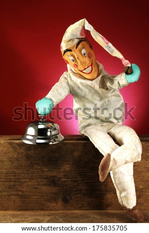 the clown gets to the start of the game - stock photo
