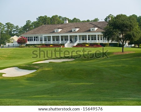 The clubhouse at the TPC Myrtle Beach golf course in South Carolina. - stock photo