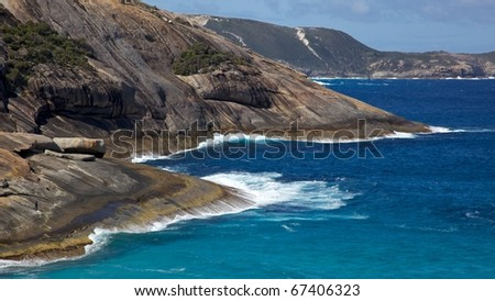 The coast near Salmon Holes Beach, in Torndirrup National Park, near the town of  Albany in Western Australia. - stock photo