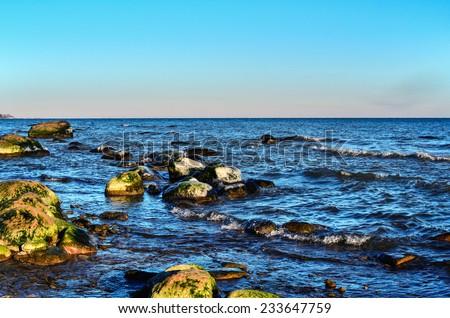 The coast of a rocky beach - stock photo