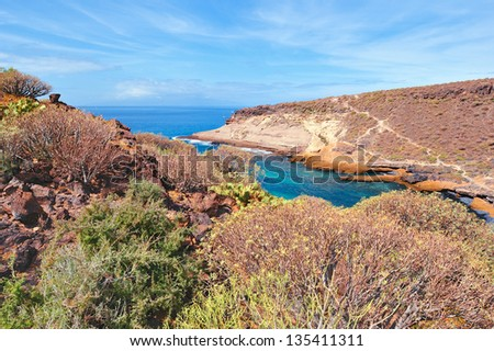 The coast of a rocky beach. Sunny day in Tenerife - stock photo