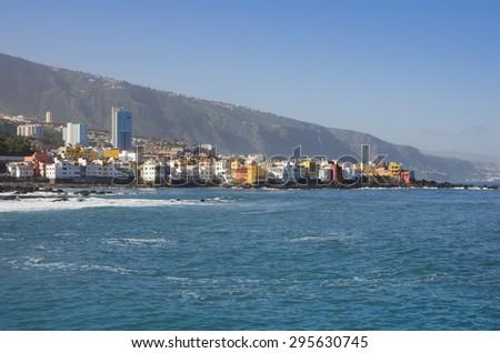 The coast of Atlantic ocean in Puerto De La Cruz, one of the most popular touristic towns, Canary islands, Spain - stock photo