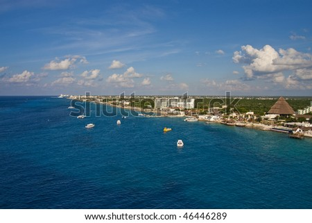 The coast of Cozumel, Mexico from the sea - stock photo