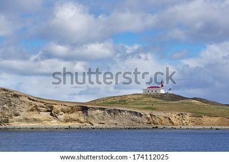 The coast of Magdalena island, Strait of Magellan, Chile - stock photo