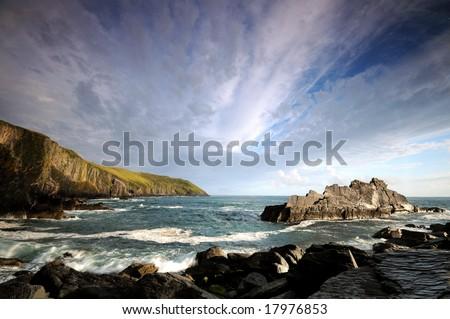 the coast of southern of Ireland - stock photo