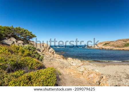 The coast of the Desert des Agriates with L'Ile Rousse in background