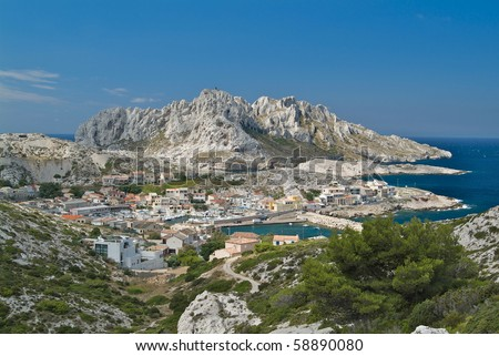 The coast village Chemin des Goudes outside, Marseille, France - stock photo