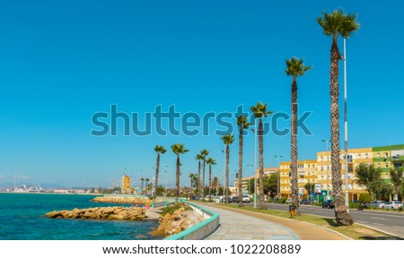 The coastal town of La Linea de la Concepcion and the Poniente beach is often referred to as 'The Gateway to Gibraltar' on September 04, 2017 in Cadiz province of Andalucia, Southern Spain.
