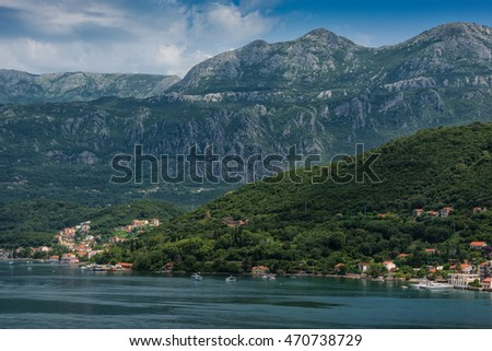 The coastal village of Perast with Mount Lovcen in the background.