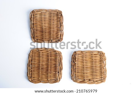 The Coaster, Dark brown bamboo mat texture isolated on white - stock photo