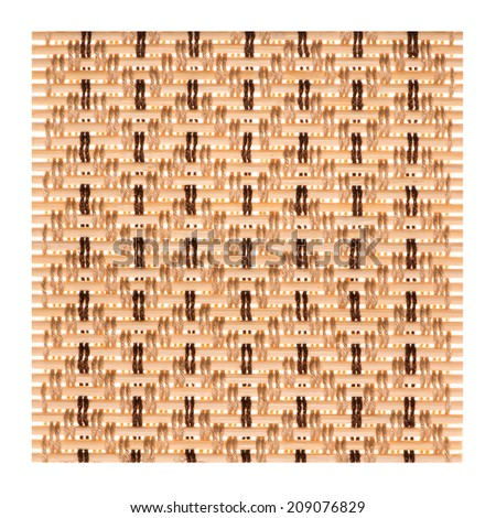 The Coaster, Dark brown bamboo mat texture isolated on white background - stock photo