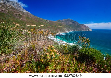 The coastline along the famous Chapman's Peak Drive in Hout Bay near Cape Town, South Africa.