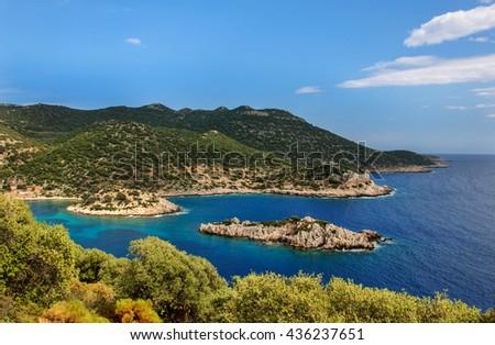 The coastline of the beautiful beach on the Mediterranean Sea. - stock photo
