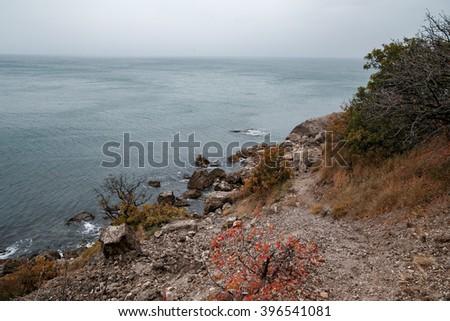 The coastline of the Black Sea. Crimea foggy morning. Black Sea Coast - stock photo