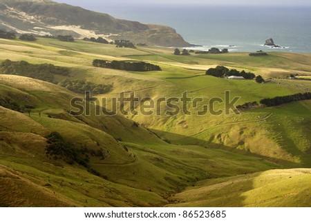 The coastline on the Otago peninsula on the South island of New Zealand - stock photo