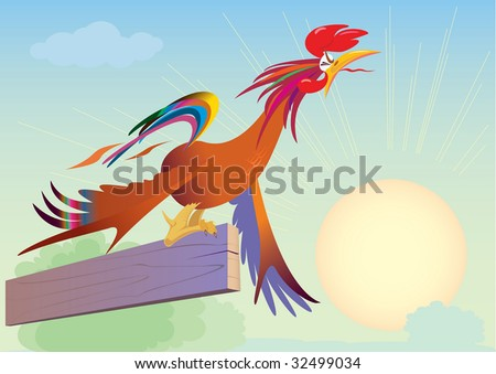 The cock at dawn crows over-straining. vector. illustration - stock photo