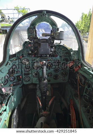 The cockpit of the Mig-21 fighter jet - stock photo