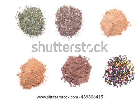 the cocoa powder, ground coffee and dried tea leaves in a white container over white background. - stock photo
