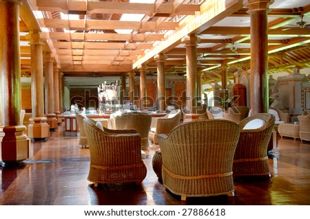 The coffee bar at resort with rattan chairs and furniture - stock photo