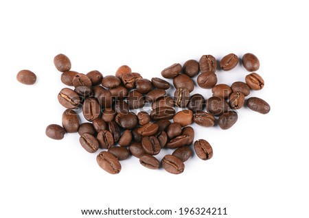 The coffee beans isolated on white background