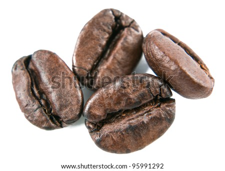 The  coffee beans on a white background - stock photo