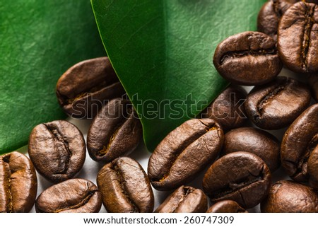 The coffee grains and leaves for drink - stock photo