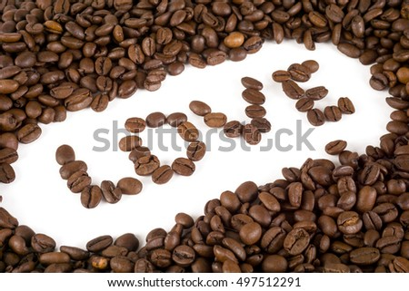 The coffee lover concept with word LOVE on white background