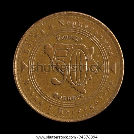 The coin from Bosnia on the black background - stock photo
