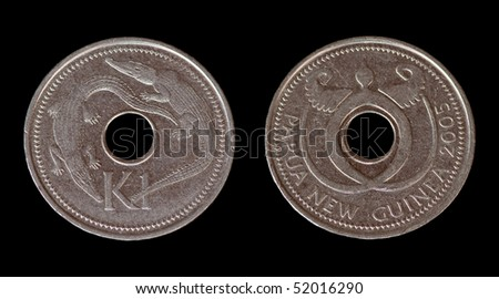 The coin from Papua New Guinea on the black background - stock photo