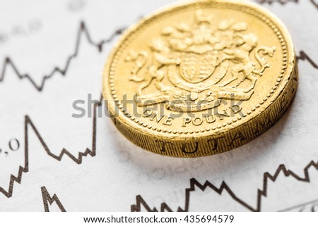 The coin one pound on graphics background. Studio shot - stock photo
