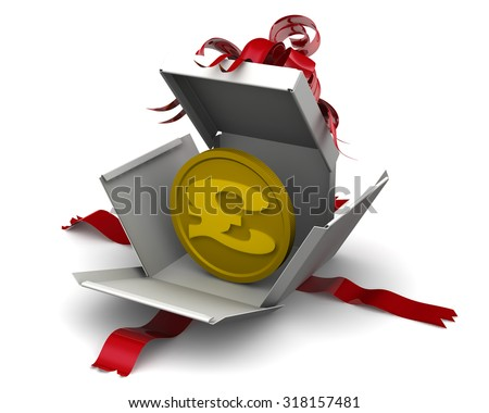 The coin with the symbol of the British pound sterling is disclosed in a gift box. Money as a gift. Concept