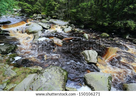 The cold Mountain Stream with the red Water in the south Bohemia's Wilderness