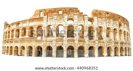 The Coliseum , Colosseum, Flavian Amphitheatre, in Rome city in Italy. Isolated on white background - stock photo