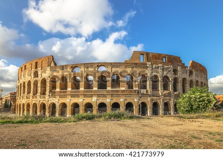 The Coliseum, Colosseum, Flavian Amphitheatre, is the largest amphitheater in the world and one of the symbols of Italy. Symbol of Rome, located in historical center, a Unesco Heritage Site. - stock photo