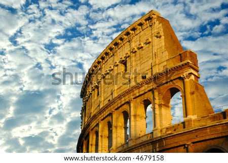 The coliseum in Rome, Italy - One of the seven marvels of the world in a cloudy day