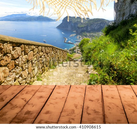 The collage from wooden floor and view of Capri island, Italy - stock photo