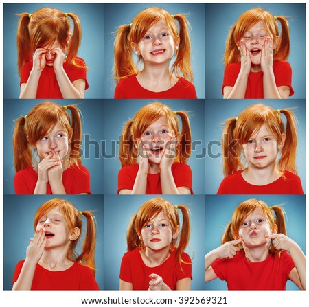 The collage of girl with different emotions - stock photo