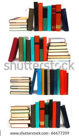 the collage textbooks on white table - stock photo