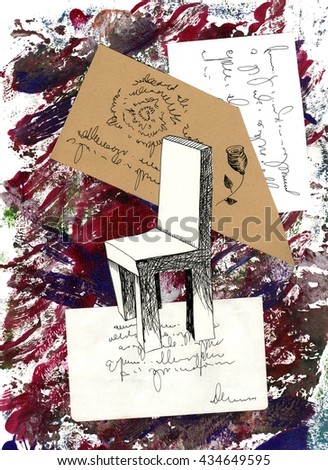 The collage with the fantasy red room with the chair and words made with the different paper and applique work