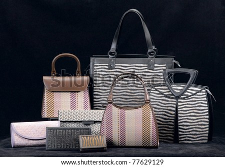 The collection of bamboo handbag for your choice - stock photo