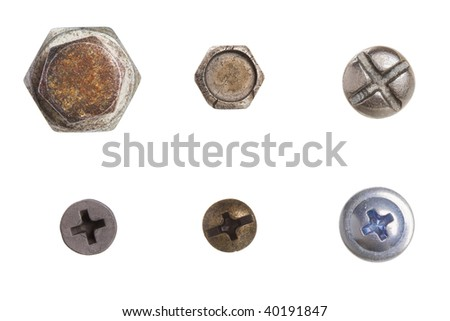 The collection of bolts. Isolated on white. - stock photo