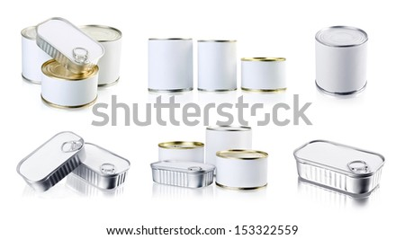 The collection of canned food - stock photo