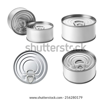 The collection of canned food with Copy Space Isolated on a White Background. - stock photo