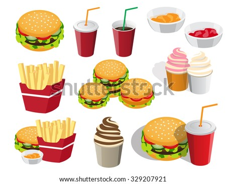 the collection of icons is not the topic of food for fast food - stock photo