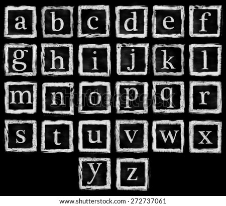 the collection of rubber stamp characters, can easy to combine the letter for various combination of word. - stock photo