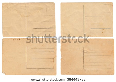 The collection of some vintage postcards are isolated on white. - stock photo