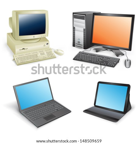 The collection which shows evolution of computers isolated on a white background - stock photo