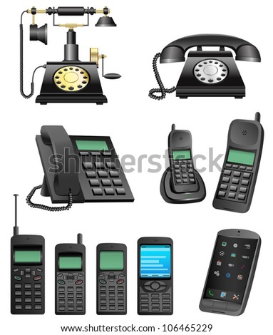The collection which shows evolution of phones isolated on a white background - stock photo
