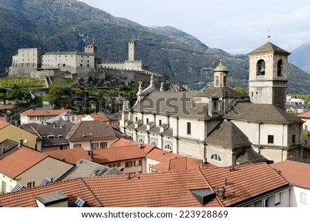 The Collegiate Church and fort Castelgrande at Bellinzona on the Swiss alps, Unesco world heritage