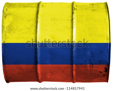 The Colombian flag painted on oil barrel